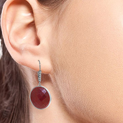 Ruby and Diamond Drop Earrings 46.0ctw in 9ct White Gold