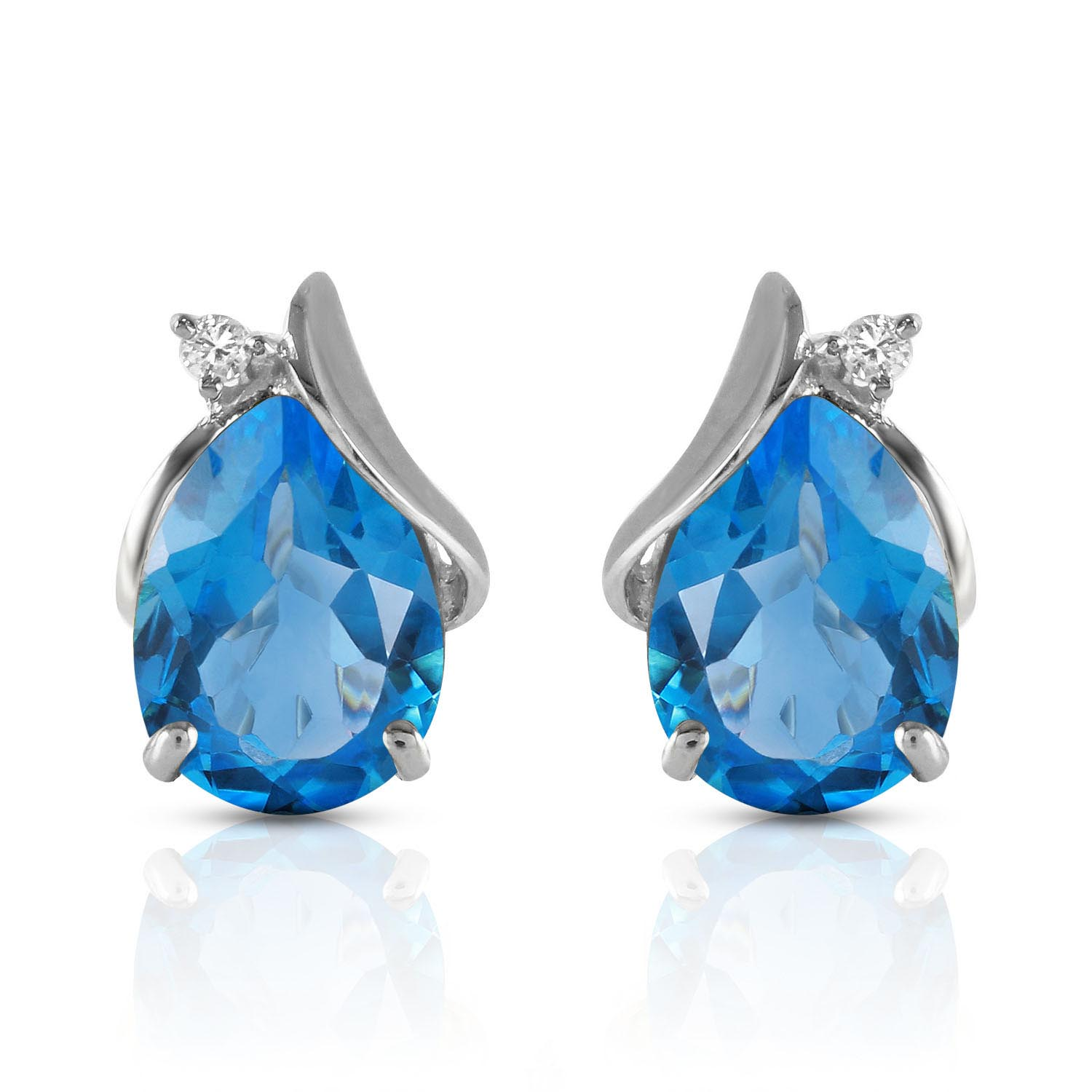 Blue Topaz and Diamond Stud Earrings 5.0ctw in 9ct White Gold