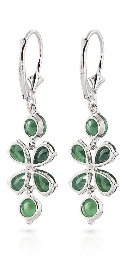 Emerald Blossom Drop Earrings 5.32ctw in 9ct White Gold