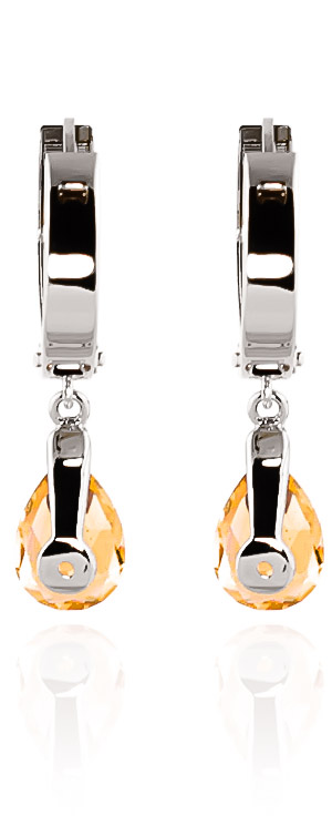 Citrine Droplet Huggie Earrings 5.35ctw in 9ct White Gold