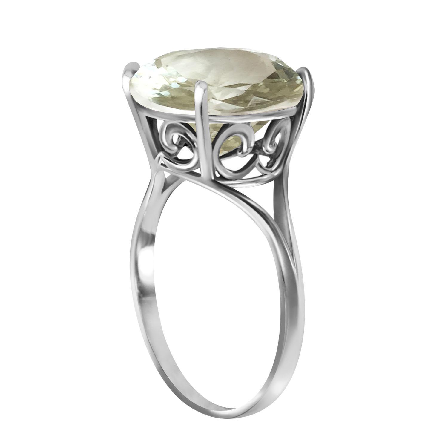 Round Brilliant Cut Green Amethyst Ring 5.5ct in 9ct White Gold