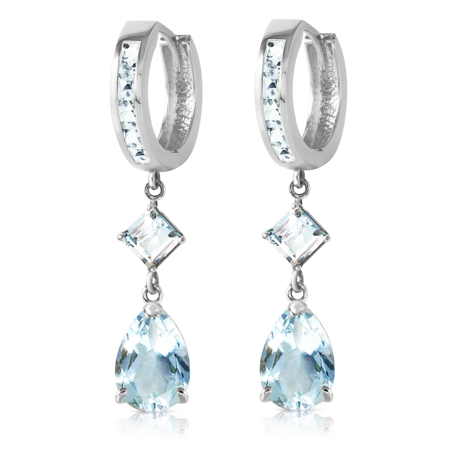Aquamarine Droplet Huggie Earrings 5.62ctw in 9ct White Gold
