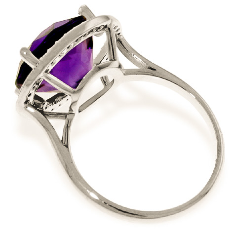 Amethyst and Diamond Halo Ring 6.0ct in 9ct White Gold