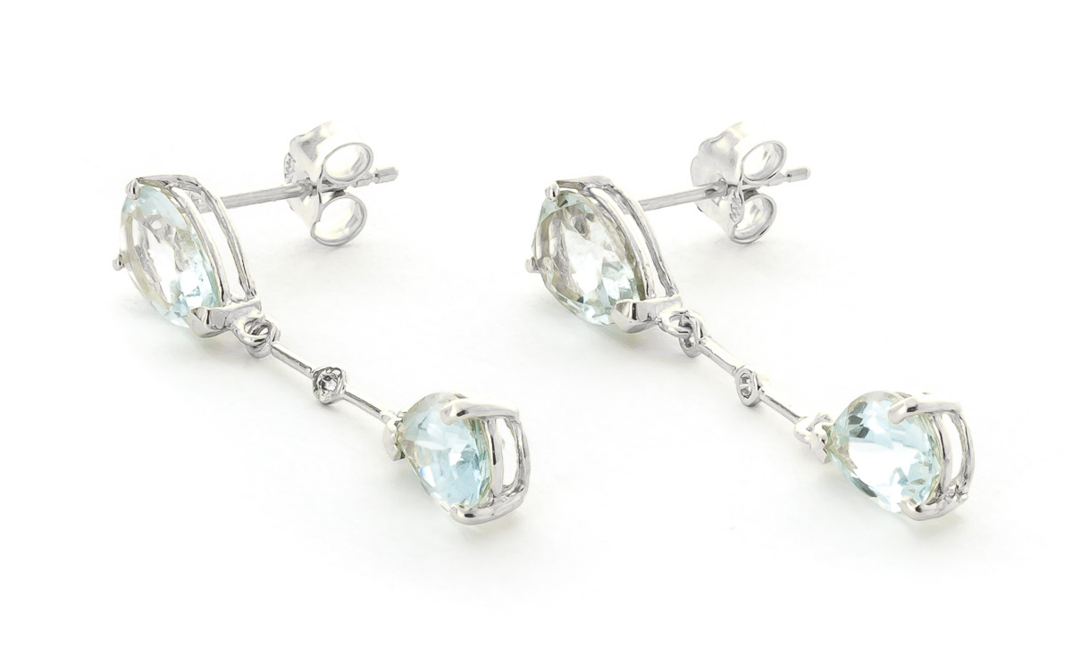 Aquamarine and Diamond Drop Earrings 6.0ctw in 9ct White Gold