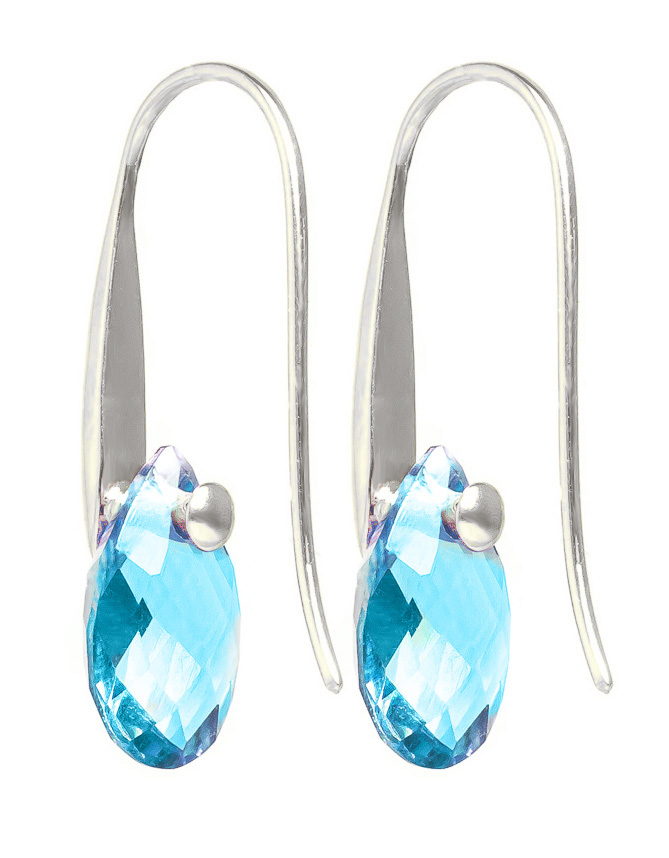 Blue Topaz Briolette Drop Earrings 6.0ctw in 9ct White Gold