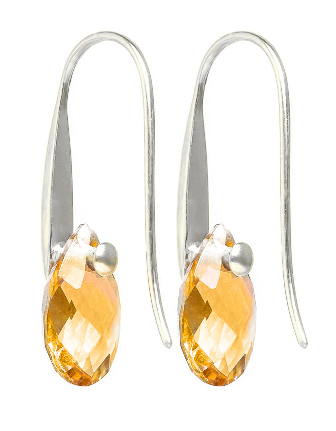Citrine Briolette Drop Earrings 6.0ctw in 9ct White Gold