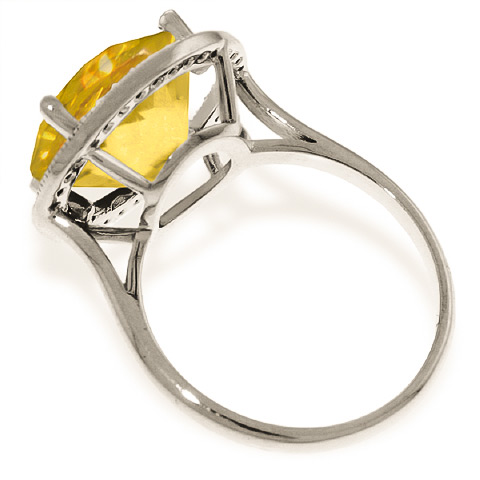Citrine and Diamond Halo Ring 6.0ct in 9ct White Gold