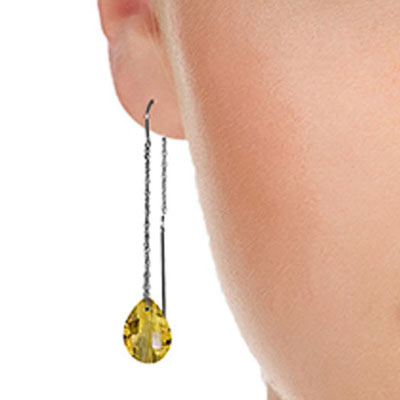 Citrine Scintilla Briolette Earrings 6.0ctw in 9ct White Gold