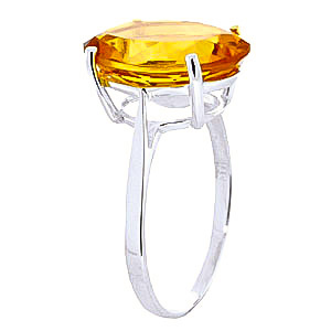 Oval Cut Citrine Ring 6.0ct in 9ct White Gold