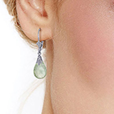 Green Amethyst Droplet Briolette Earrings 6.0ctw in 9ct White Gold