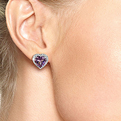 Amethyst and Diamond French Clip Halo Earrings 6.2ctw in 9ct White Gold