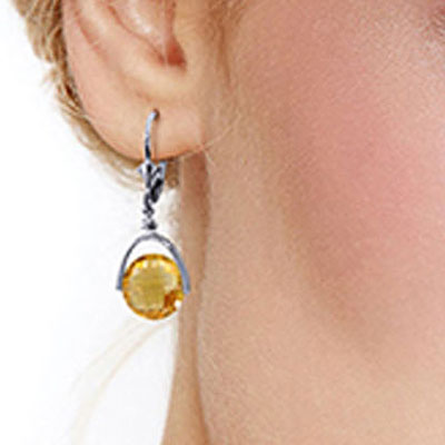 Citrine Drop Earrings 6.5ctw in 9ct White Gold