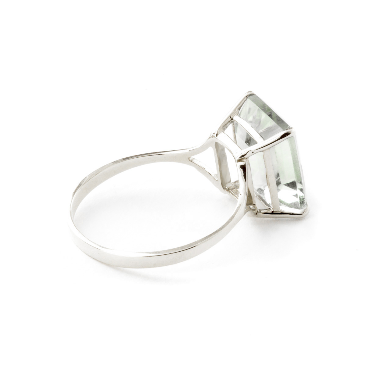 Green Amethyst Ring 6.5ct in 9ct White Gold