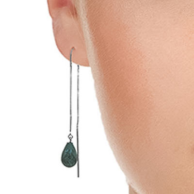 Emerald Scintilla Briolette Earrings 6.6ctw in 9ct White Gold