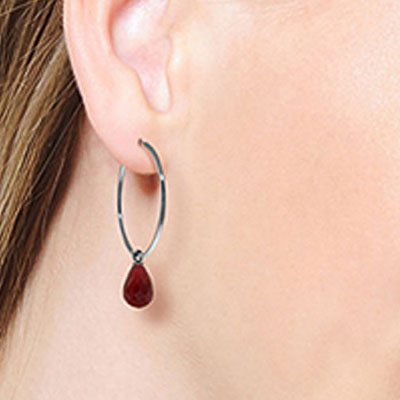 Ruby Briolette Earrings 6.6ctw in 9ct White Gold