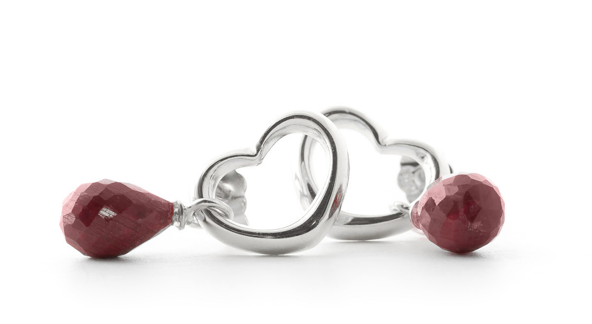 Ruby Stud Earrings 6.6ctw in 9ct White Gold