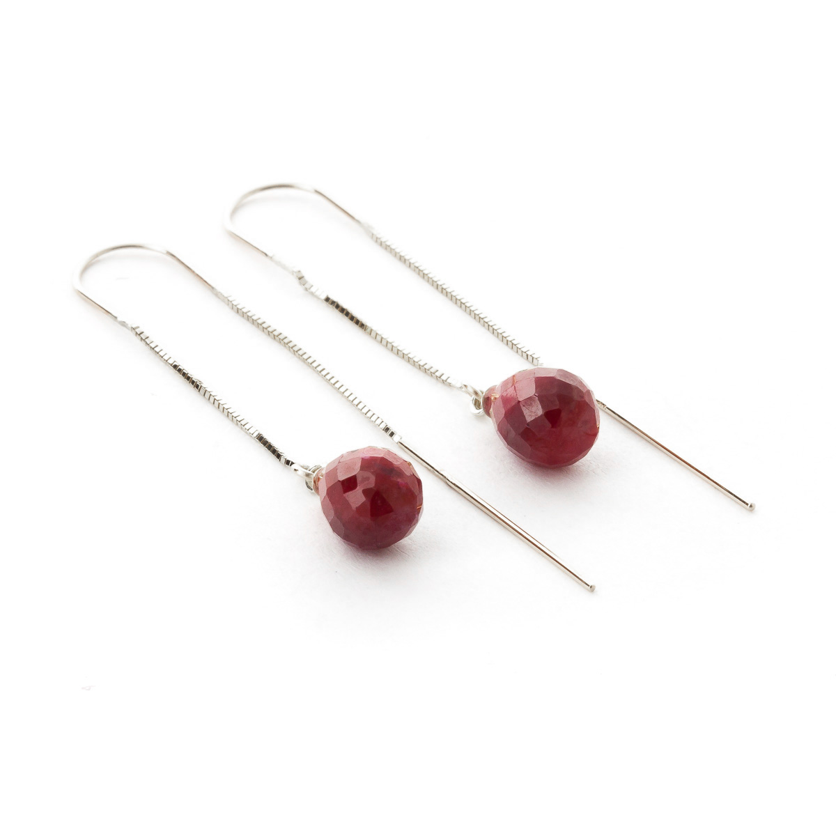 Ruby Scintilla Briolette Earrings 6.6ctw in 9ct White Gold