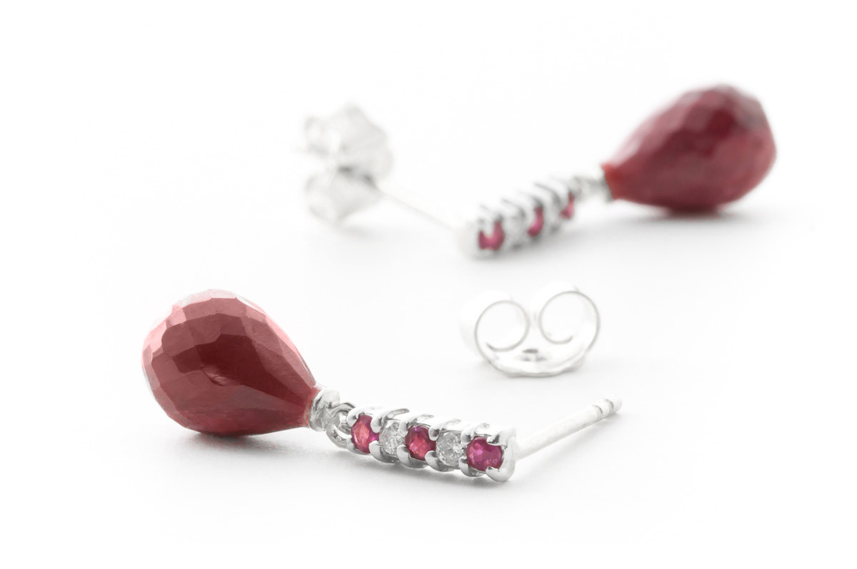 Ruby and Diamond Stud Earrings 6.84ctw in 9ct White Gold