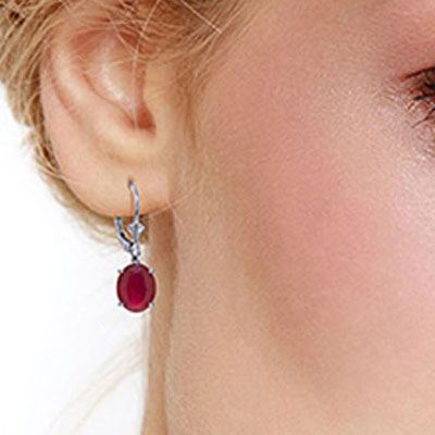 Ruby Drop Earrings 7.0ctw in 9ct White Gold