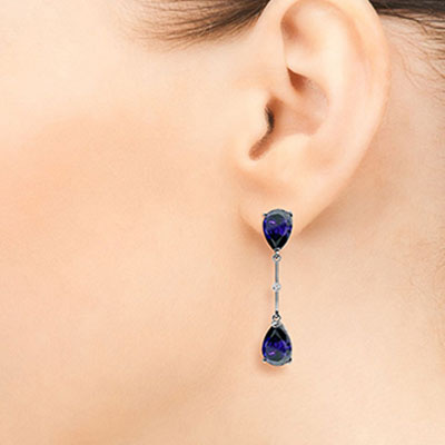 Sapphire and Diamond Drop Earrings 7.0ctw in 9ct White Gold
