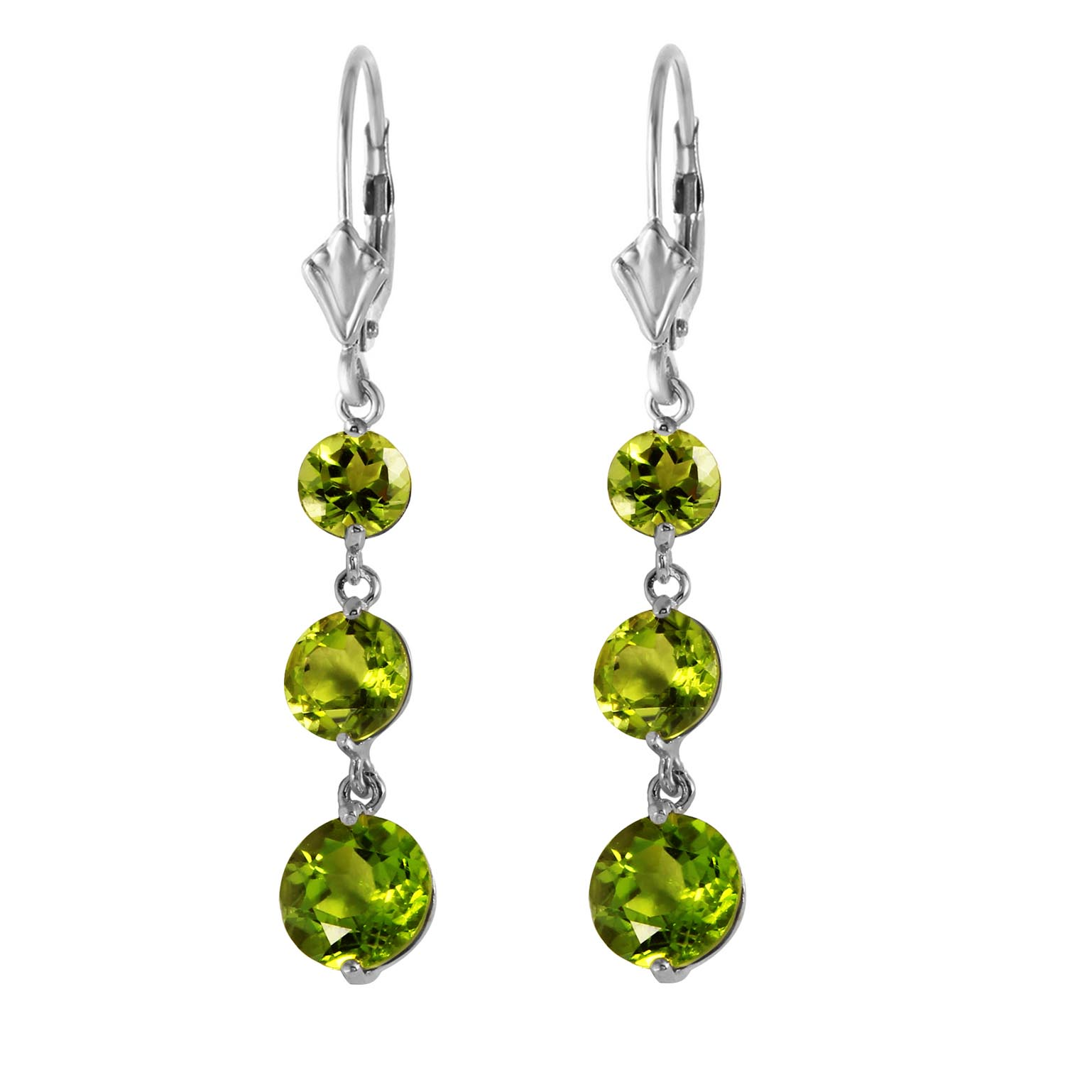 Peridot Trinity Drop Earrings 7.2ctw in 9ct White Gold