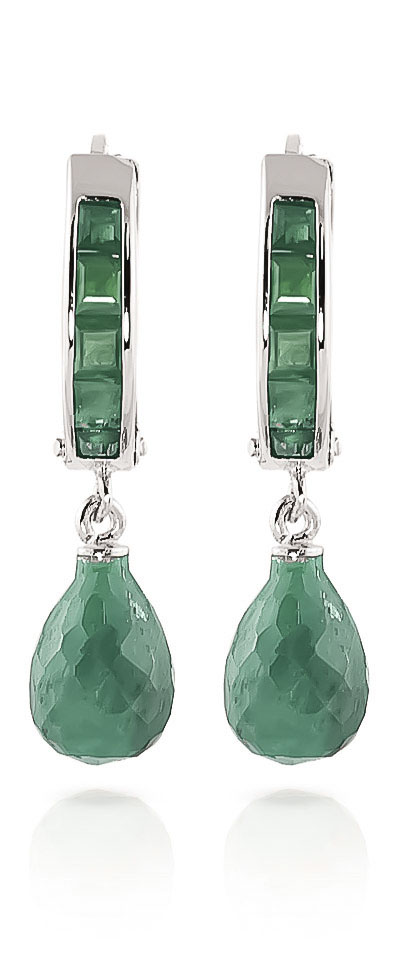 Emerald Droplet Huggie Earrings 7.8ctw in 9ct White Gold