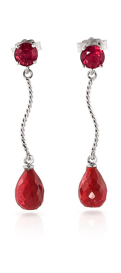 Ruby Lure Drop Earrings 7.9ctw in 9ct White Gold