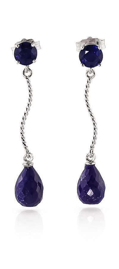 Sapphire Lure Drop Earrings 7.9ctw in 9ct White Gold