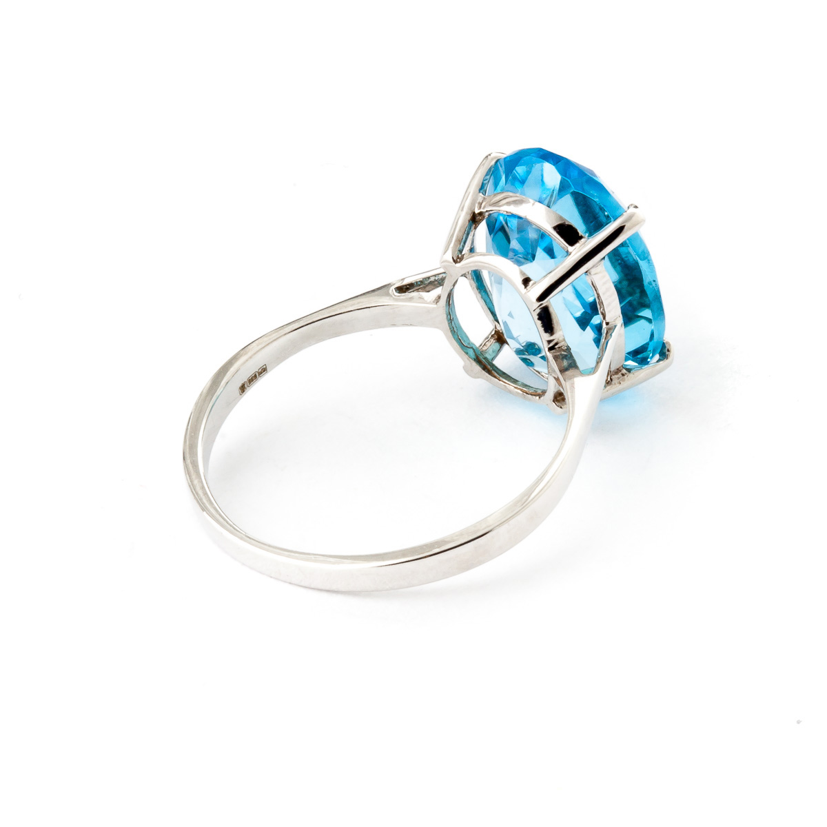 Oval Cut Blue Topaz Ring 8.0ct in 9ct White Gold