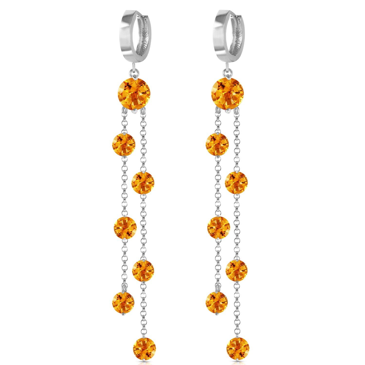 Citrine Roman Drop Earrings 9.02ctw in 9ct White Gold