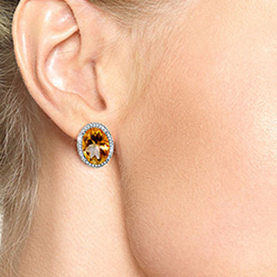 Citrine and Diamond French Clip Halo Earrings 9.4ctw in 9ct White Gold