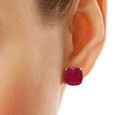 Ruby Stud Earrings 9.4ctw in 9ct White Gold