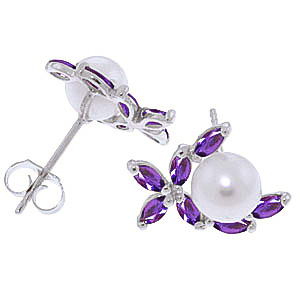 Pearl and Amethyst Ivy Stud Earrings 3.25ctw in 9ct White Gold