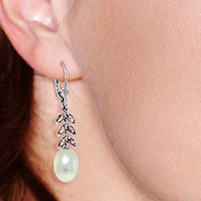 Pearl and Amethyst Drop Earrings 9.2ctw in 9ct White Gold