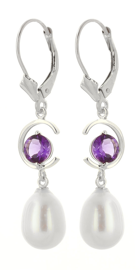 Pearl and Amethyst Drop Earrings 9.0ctw in 9ct White Gold