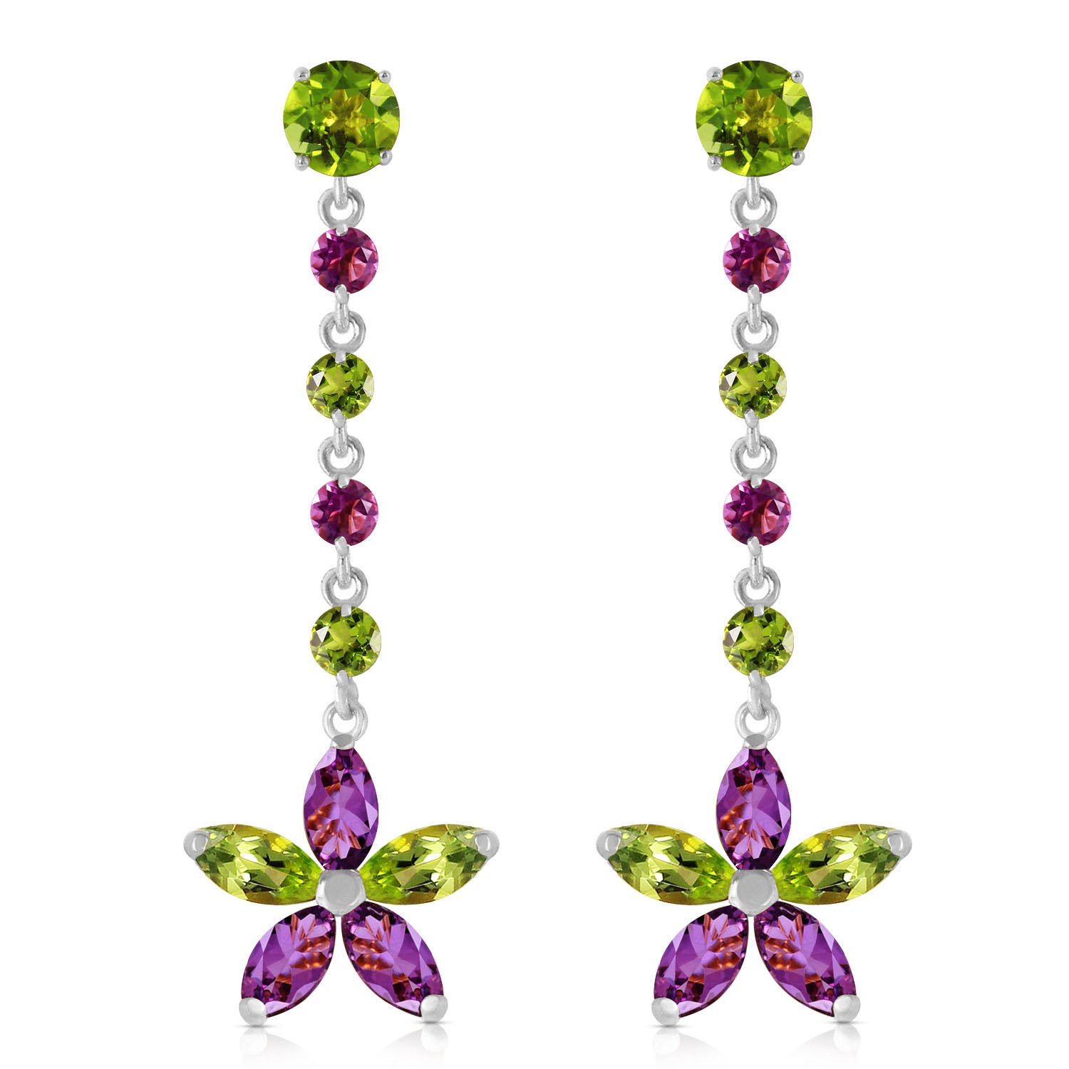 Peridot and Amethyst Daisy Chain Drop Earrings 4.8ctw in 9ct White Gold