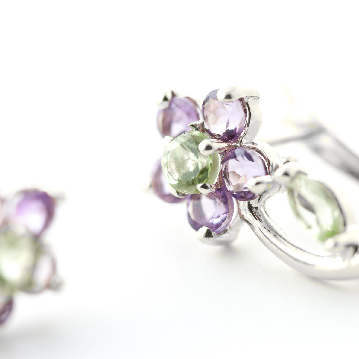 Peridot and Amethyst Flower Stud Earrings 1.72ctw in 9ct White Gold