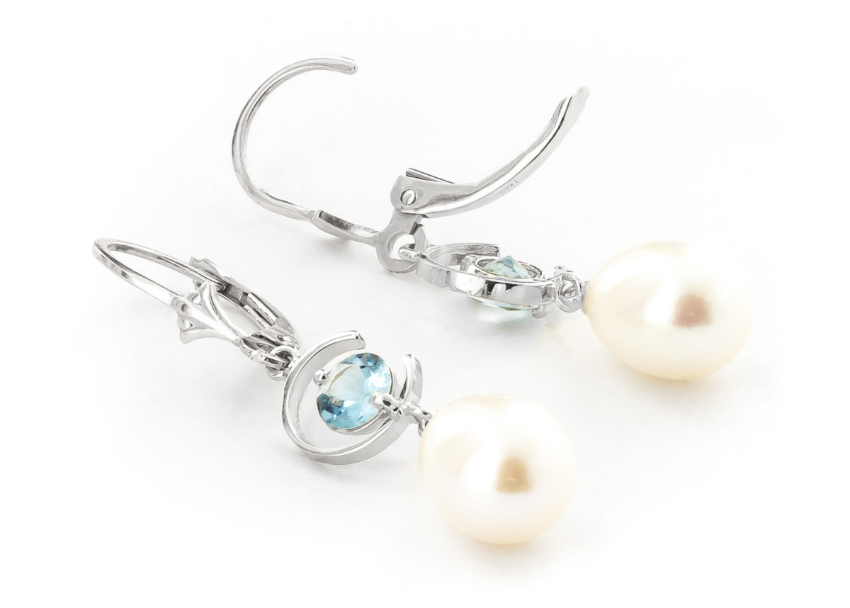 Pearl and Aquamarine Drop Earrings 9.0ctw in 9ct White Gold