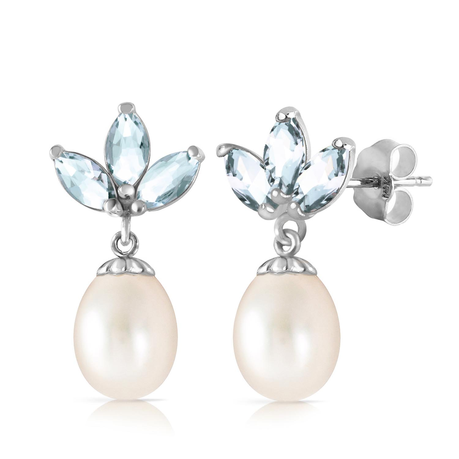 Pearl and Aquamarine Petal Drop Earrings 9.5ctw in 9ct White Gold