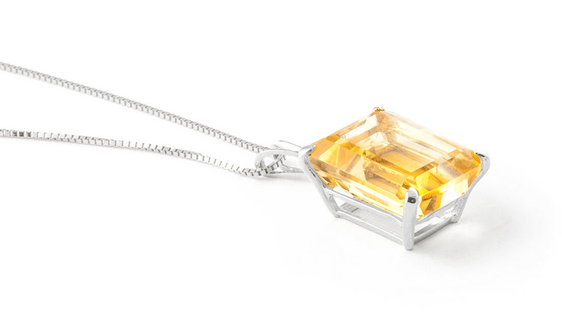 Citrine Pendant Necklace 6.5ct in 9ct White Gold