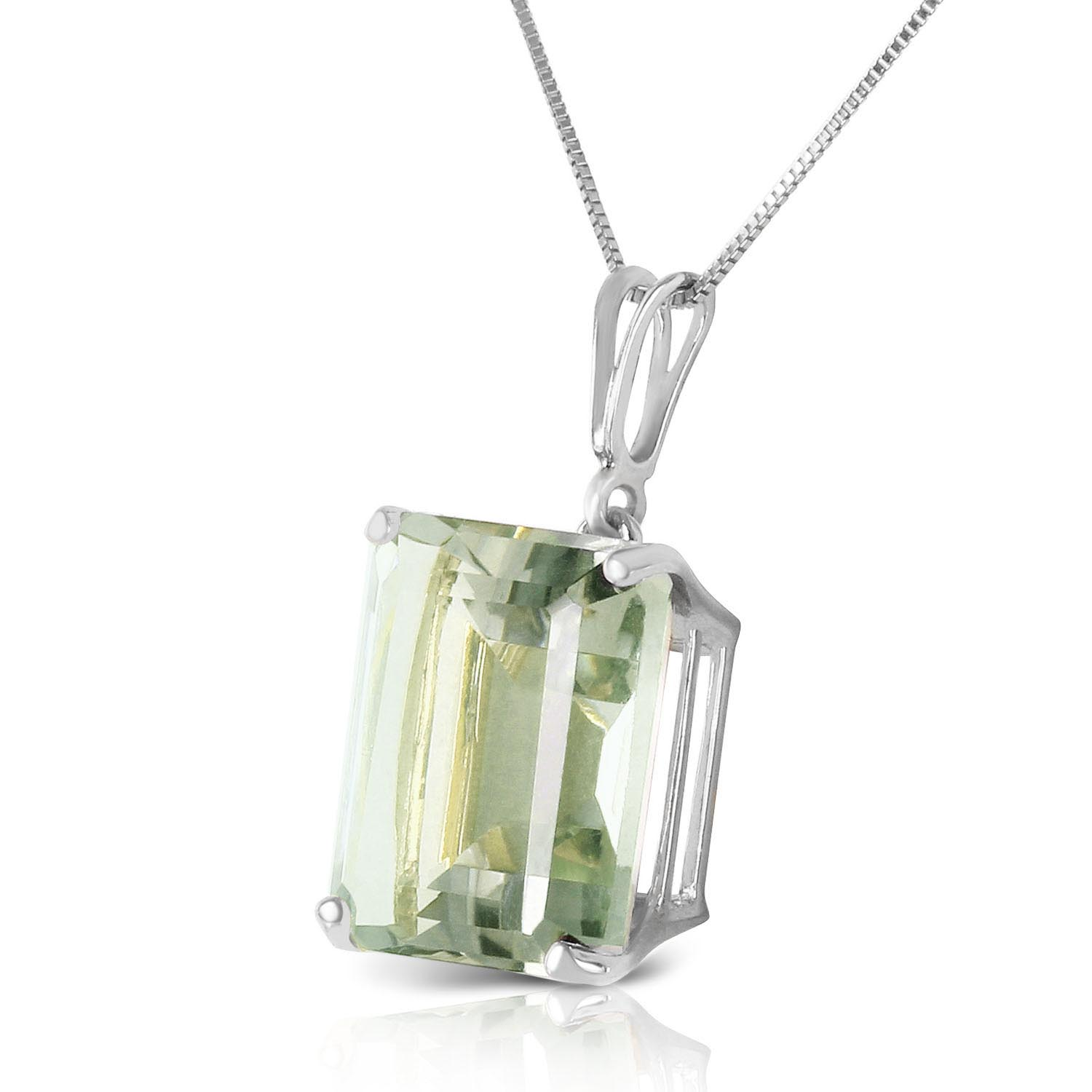 Green Amethyst Pendant Necklace 6.5ct in 9ct White Gold