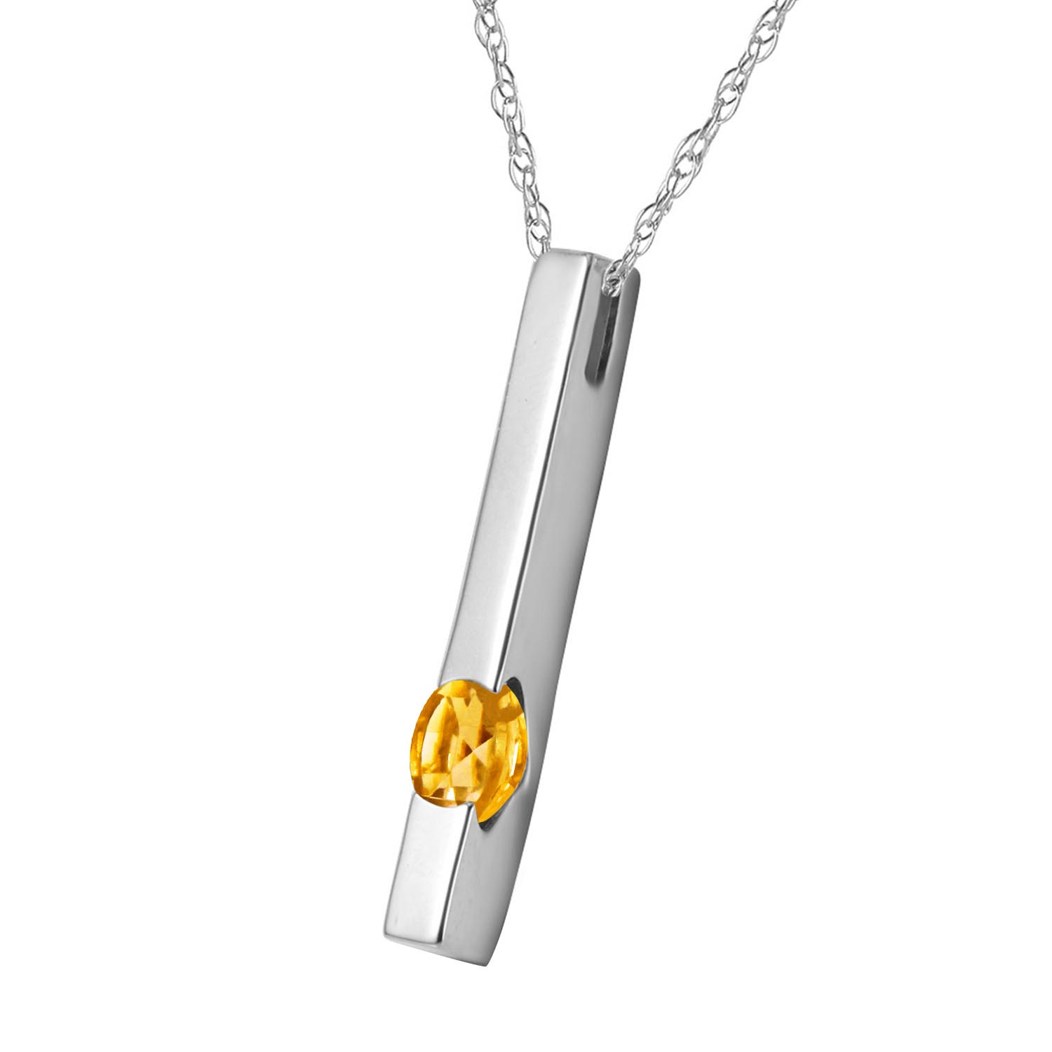 Citrine Bar Drop Pendant Necklace 0.25ct in 9ct White Gold