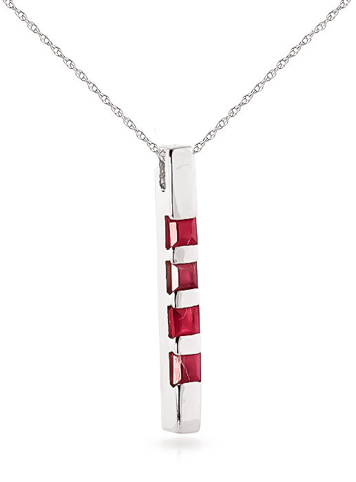 Ruby Bar Pendant Necklace 0.35ctw in 9ct White Gold