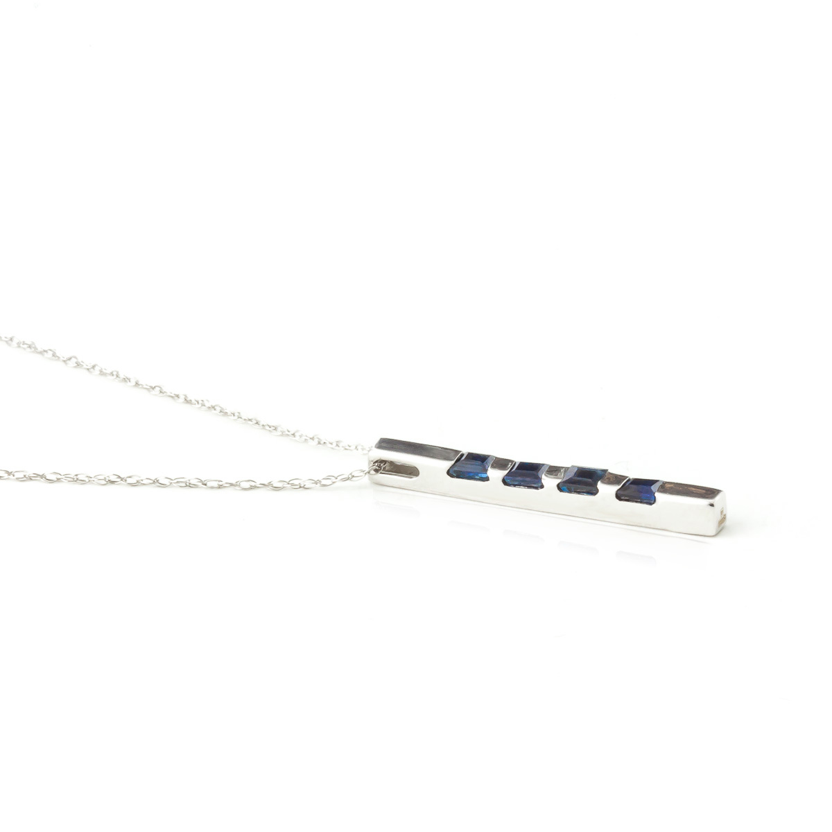 Sapphire Bar Pendant Necklace 0.35ctw in 9ct White Gold