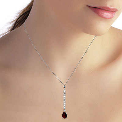 Diamond and Garnet Bar Pendant Necklace in 9ct White Gold
