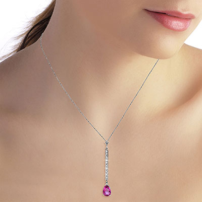 Diamond and Pink Topaz Bar Pendant Necklace in 9ct White Gold