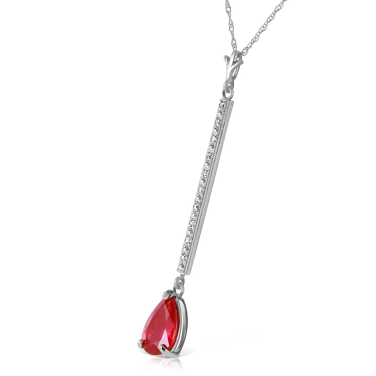 Diamond and Ruby Bar Pendant Necklace in 9ct White Gold