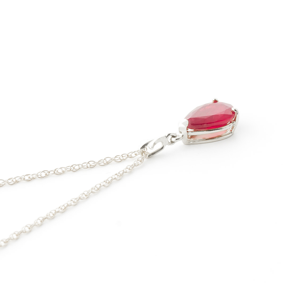 Ruby Belle Pendant Necklace 1.75ct in 9ct White Gold