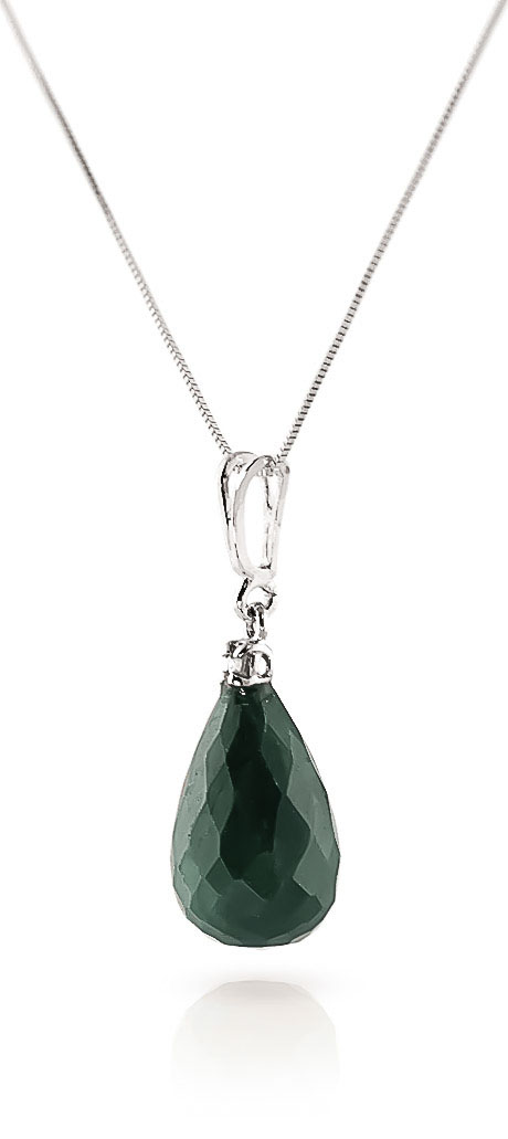 Emerald and Diamond Pendant Necklace 8.8ct in 9ct White Gold
