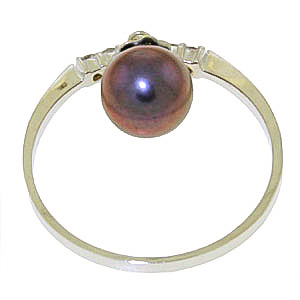 Diamond and Black Pearl Droplet Ring in 9ct White Gold